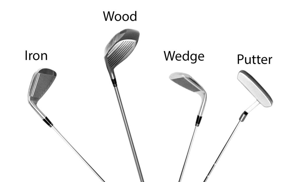 There are 5 main types of golf clubs: irons, woods, wedges, putters and hybrids.