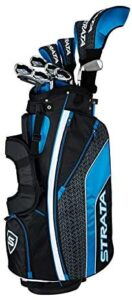 Callaway Strata clubs in bag with head covers.
