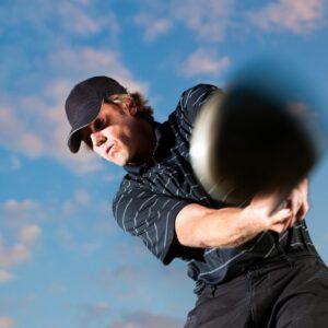 Pro golfer taking a swing